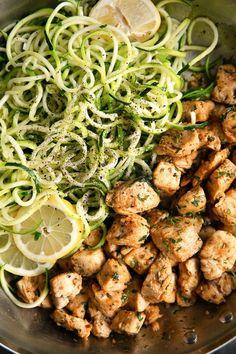 30 Minute Garlic Butter Chicken Recipe with Zucchini Noodles - Paleo Crockpot Vegan Pizza Recipe, Recipe Zucchini, Garlic Butter Chicken, Cooked Chicken, Chicken Bites, Zucchini Noodles, Garlic Noodles, Chicken Zucchini, Veggie Noodles