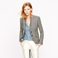 Love this outfit: blazer, blouse, tuxedo pants