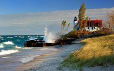 """Breaking Light"" Point Betsie Lighthouse, Michigan"