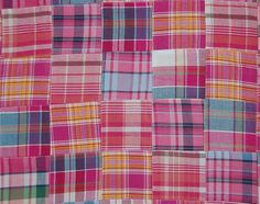 Three Chickadees Cotton Patchwork Madras Fabric by the Yard ~ Pink Lemonade #madrasfabric #patchworkmadras #madras