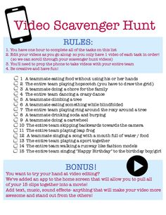 Scavenger hunts using phones seem to pretty popular these days so how excited would your kids be to host their own video scavenger hunt for their friends? Teen Party Games, Sleepover Party, Slumber Parties, Teen Scavenger Hunt, Photo Scavenger Hunt, Scavenger Hunt Birthday, Sleepover Activities, Team Activities, Birthday Activities