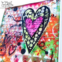 Card with carabelle stamps by Birgit Koopsen, stencil & distress ink