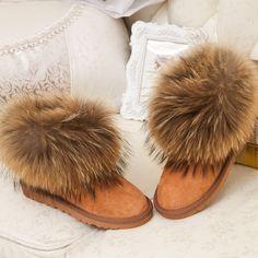 Ženy Winter Show boty Natural Liščí kožešinou mýval für Krátký Boty Dámská  obuv Vodotěsný Byt ženských 5a72b569b1