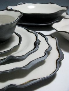 the new-classic detail, table set, porcelain by GAYa Ceramic and Design Ceramic Tableware, Ceramic Pottery, Ceramic Art, The New Classic, Sculptures Céramiques, Clay Bowl, Recycling, Plates And Bowls, Handmade Pottery