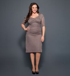 Plus Size Dresses - Roxie Ruched Dress by Kiyonna Plus Size Cocktail Dresses, Plus Size Dresses, Plus Size Outfits, Plus Size Womens Clothing, Plus Size Fashion, Clothes For Women, Roxy Clothing, Size Clothing, Beautiful Dresses