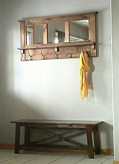 Like the mirror/hooks. This would be cool with a shorter, rustic  bench instead of the door bench.
