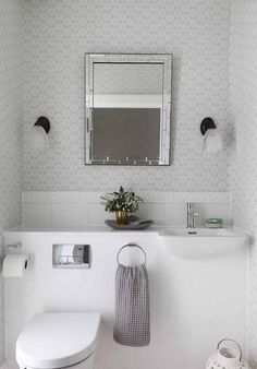 The alternative to the snow-white shade may become the pastel group of colors, light and tender shades will show to the advantage along with the white bathroom fittings and warm color of decorative elements.  #toiletsmall #toiletdesign #toilettiny
