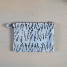 linen zipper pouch indigo dyed and block printed with seed pattern - modern botanics