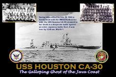 USS Houston, sunk at the Battle of Sunda Strait, Feb. 28 - Mar. 1, 1942, along with the HMAS Perth.