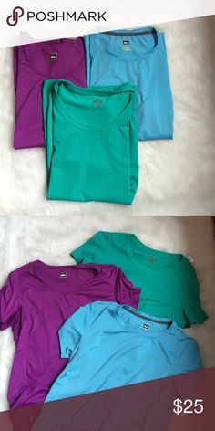 3 REI Workout Tops These 3 tops are brand new without tags! All sweat wicking! Smoke and pet free home! No trades. NOT PATAGONIA Reasonable offers welcome! Patagonia Tops Tees - Short Sleeve