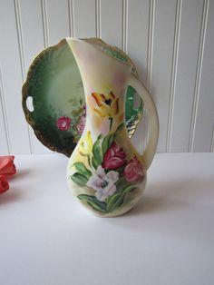 Vintage Pink Yellow Floral Ceramic Pitcher/Vase  by jenscloset, $16.50