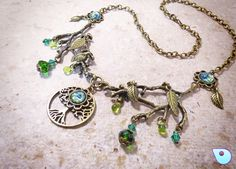 Tree of life necklace Yggdrasil, Gypsy Necklace, Pagan Jewelry, Wiccan necklace, Fairy jewelry, Pagan Necklace, Earth Element necklace, OOAK by CervelleDoiseau on Etsy