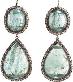 Zoe Emerald Champagne Diamond Double Drop Earrings