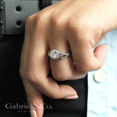Gabriel & Co.-Voted #1 Most Preferred Fine Jewelry and Bridal Brand. Curled ribbons of smooth white gold and pave diamonds encircle your precious 14k White Gold Round Bypass Engagement Ring.