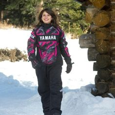 Women's Yamaha Snowmobile Suit - Fuchsia Print.