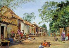 Marianne North Gallery: Painting Village of Mat Houses, near Garoet, Java Indian Paintings, Your Paintings, Landscape Paintings, Marianne North, Painting People, Rural Area, British Colonial, Art Uk, City Art