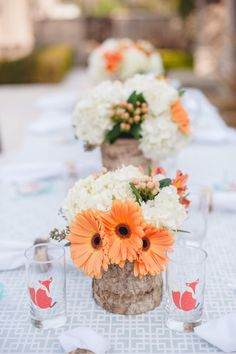 """Wood vases are rustic, """"from nature"""" vessels for colorful floral arrangements at this fox themed baby shower. See all our vases here: http://www.lightsforalloccasions.com/c-411-vases-vase-filler.aspx"""
