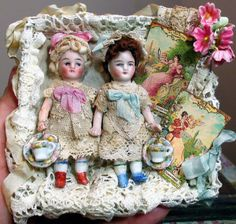 """Two Sweet & Tiny 3"""" All Bisque Miniature Antique Dollhouse dolls in from nhlove on Ruby Lane"""