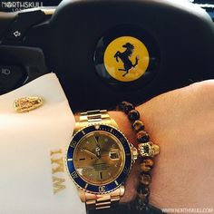 The stylish Yellow Tiger Eye & Gold Perforated Skull Bracelet by is nicely paired with a Gold Rolex Submariner Watch Skull Bracelet, Bracelet Watch, Blazer Outfits Men, Men's Fashion Jewelry, Gold Rolex, Gold Skull, Rolex Submariner, Luxury Watches For Men, Bracelets For Men