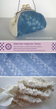 Indigo shibori dye - This technique is called Kushi baika shibori. Baika means plum blossom flowers. This clutch purse is hand-dyed and sewn by me. (Little m Blue)