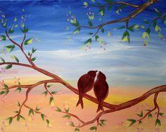 Young Romance - http://www.paintnite.com - #PaintNite #Art #Canvas #Birds
