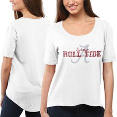 Alabama Crimson Tide Women's Jewel Top II T-Shirt – White ($45) ❤ liked on Polyvore featuring tops, t-shirts, white, white top, loose white t shirt, loose tee, graphic design t shirts and white tee
