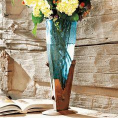 Turquoise Glass Iron Vase
