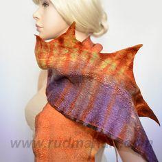 Felted Scarf Wool Silk Felt Art nunofelting hand dyed by RudmanArt, $69.00