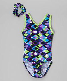 Loving this Lime & Purple Moxie Leotard & Hair Tie - Girls & Women on #zulily! #zulilyfinds