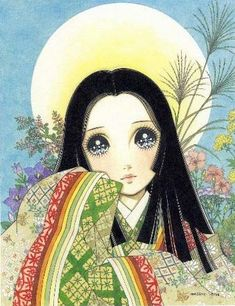I adore this classic shoujo manga style! This girl reminds me of Kaguya Hime.