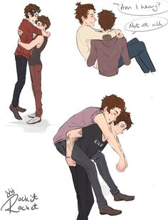 """I just want a piggyback ride, Lou"" // Larry Stylinson fan art"
