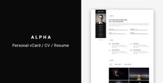 Download Free              Alpha - vCard/CV/Resume Template            #               bootstrap #clean #cv #minimal #modern #one page #personal #responsive #resume #unique #vcard