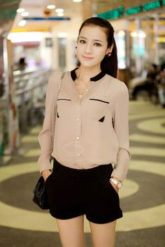 Casual Style Scoop Neck Long Sleeves Button and Pocket Design Women's Chiffon ShirtBlouses | RoseGal.com