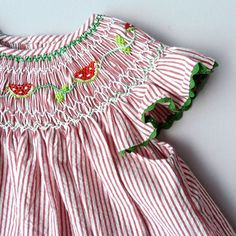 Red striped Bishop dress, smocked with watermelon and edged with green rickrack ~  Coquito Berlin