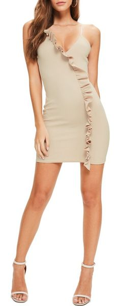 ruffle body-con dress by MISSGUIDED. Take ruffles from sweet and girly to club-dancing sassy with this stretchy crepe curve-hugging minidress with a row o...
