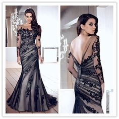 Mermaid Black Scoop Tulle With Applique Chic Evening Dresses