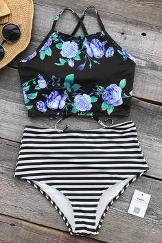Cupshe Bloom In The Dream High-waisted Bikini Set