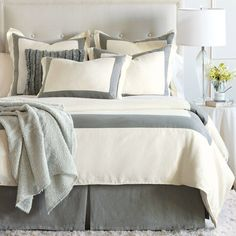 Breeze Mitered Linen Pearl With Slate Duvet Cover or Set