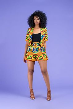 Fabba African Print Shorts By Diyanu - African Plus Size Clothing at D'IYANU - Women's style: Patterns of sustainability African Fashion Ankara, Latest African Fashion Dresses, African Print Fashion, Africa Fashion, Modern African Fashion, African Attire, African Wear, African Dress, African Style