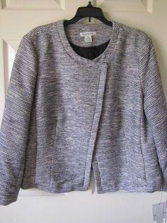 $70 LIZ CLAIBORNE Black & Neutral Tweed Lined Jacket Sz XL Long Sleeve NWT #LizClaiborne #LinedBlazerJacket.  Perfect jacket to wear with scarf or statement jewelry.