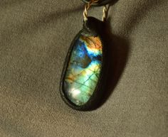 blue green labradorite pendant statement pendant by CopperFinger