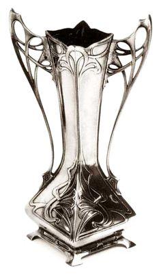 "This elegant Flower Vase is a famous ""Art Nouveau"" masterpiece. It was designed by the influential sculptor/designer Albert Mayer for the well known German firm WMF. Würtembergische MetalwarenFabrik was, around 1900 Design Art Nouveau, Pewter Art, Jugendstil Design, Home Decoracion, Arte Floral, Flower Vases, New Art, Antique Silver, Antique Art"