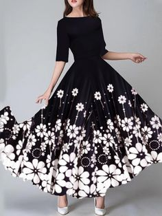 Round Neck Floral Printed Maxi Dress Get the latest womens fashion online With of new styles every day from dresses, onesies, heels, & coats, # Maxi Dress With Sleeves, Floral Maxi Dress, Cute Dresses, Beautiful Dresses, Maxi Dresses, 1950s Dresses, Awesome Dresses, Long Dresses, Dress Outfits
