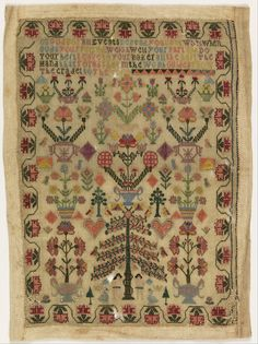 Sampler  by unknown (late 18th–early 19th century).  Medium: silk embroidery on linen foundation. Technique: embroidered on plain weave.  Cooper–Hewitt, National Design Museum