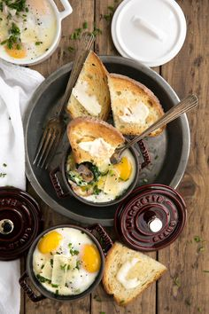 Perfect for entertaining but easy enough to make for just one, these Creamy Baked Eggs in Mini Cocottes with Spinach and prosciutto are delicious, fun-size and the perfect place to dip all the buttered bread via @theforkedspoon #eggs #bakedeggs #breakfast #brunch #easyrecipe #prosciutto #creamy