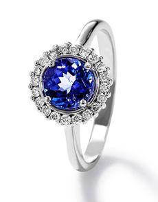 Tanzanite: 18kt Round Halo Ring! Tanzanite Rings, Rings Online, Halo Rings, Jewelery, Sapphire, Engagement Rings, Stuff To Buy, Jewlery, Enagement Rings