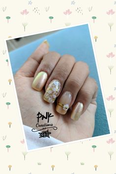"""Douglas coral seashell"""", gold glitter, gold stripes, gold bead and white stamping nail design"""