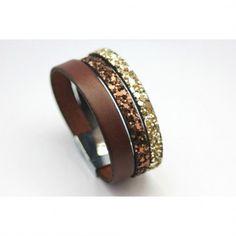 Bracelet manchette cuir marron et paillettes or - emmafashionstyle.fr