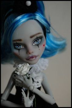 "OOAK Art Doll Monster High Repaint and Custom ""Lucy Pierrot"" by Alex 