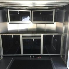 If you have an RV and want to set up your equipment, then the light cabinets will help arrange the equipment. They come in various sizes, colors and styles to match the decor in most RV and can be made of aluminum. Motorcycle Trailer, Bike Trailer, Cargo Trailers, Utility Trailer, Enclosed Trailer Cabinets, Enclosed Trailers, Hunting Trailer, Ice Fishing House, Cargo Trailer Camper Conversion